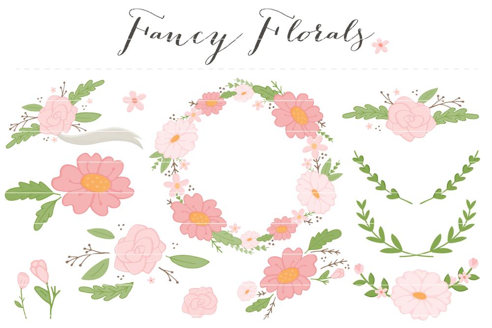 Girl fancy flowers clip. Baby clipart flower