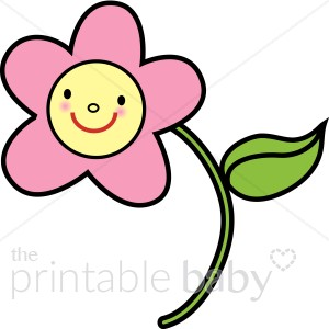 Baby clipart flower. Pink