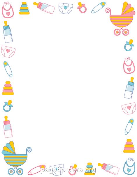 Baby clipart frame. Shower borders