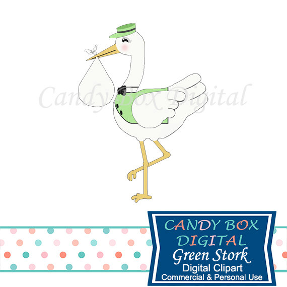 Green Stork Baby Clipart Gender Neutral Clip Art Commercial