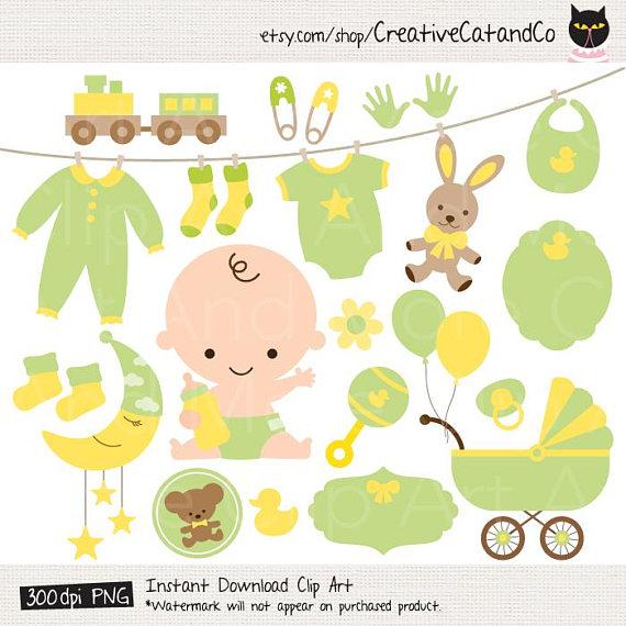 Green shower . Baby clipart gender neutral