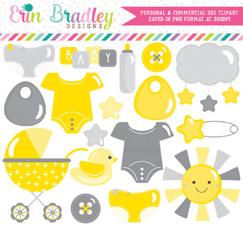 In yellow gray . Baby clipart gender neutral