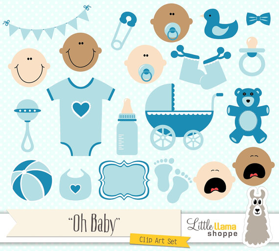 Shower blue clip art. Baby clipart graphic