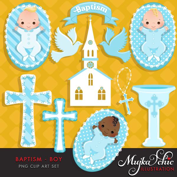 Baptism boy mujka printable. Baby clipart graphic