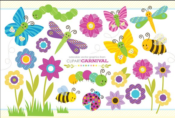 Cute bug set illustrations. Baby clipart graphic