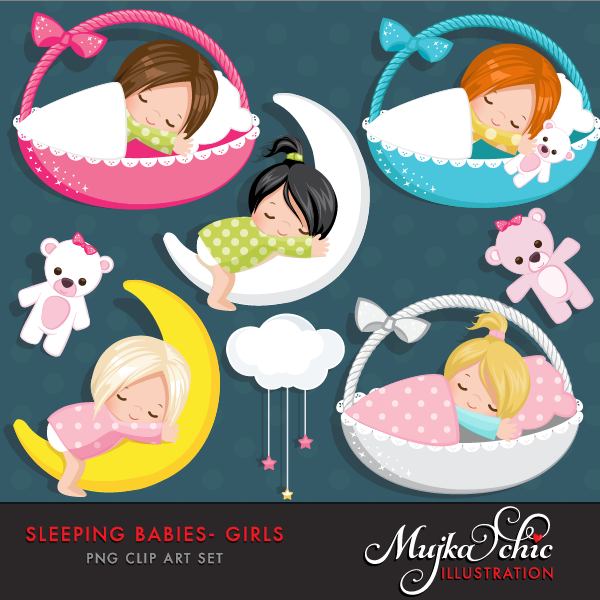 Sleeping babies mujka printable. Baby clipart graphic