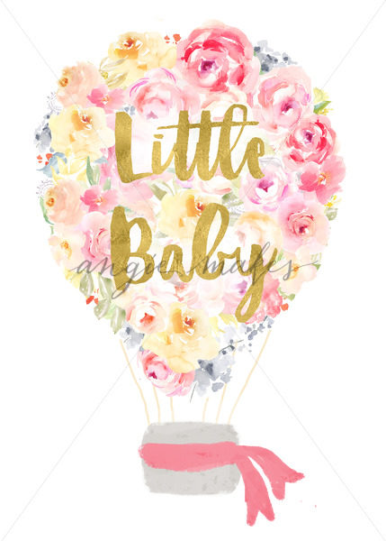 Baby clipart hot air balloon. Little printable wall art