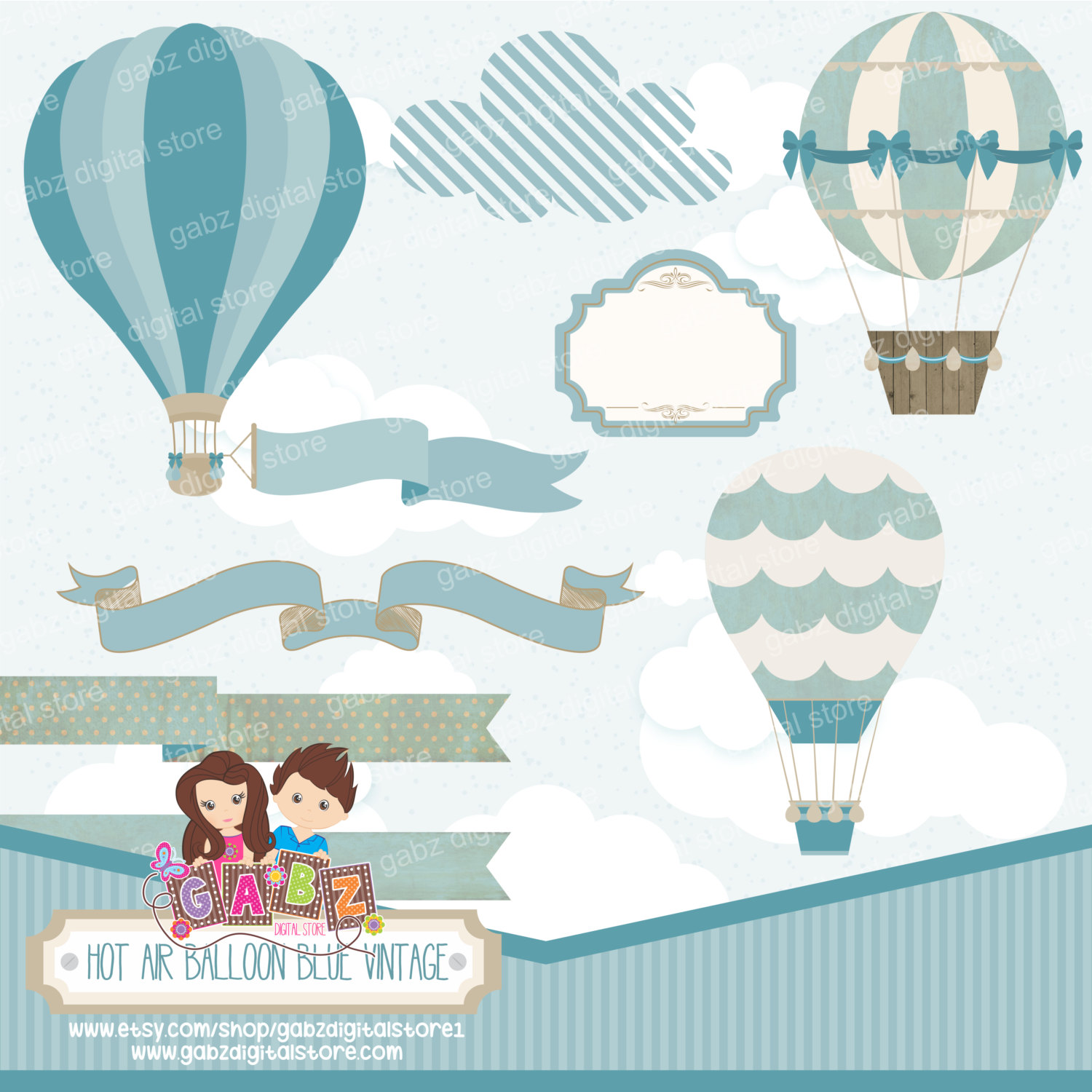 Baby clipart hot air balloon. Blue vintage digital paper
