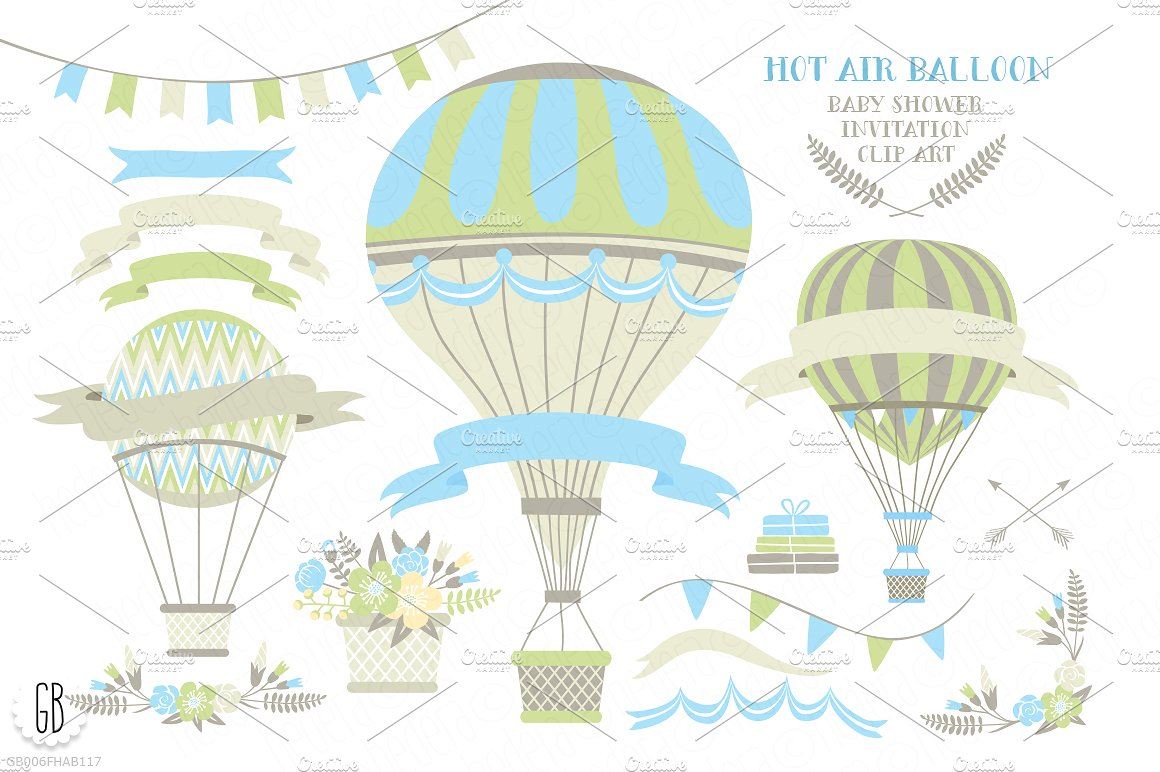 Shower invite illustrations creative. Baby clipart hot air balloon