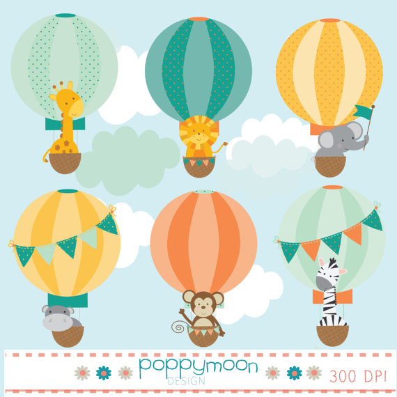 Baby animals in hot air balloons digital clip art set