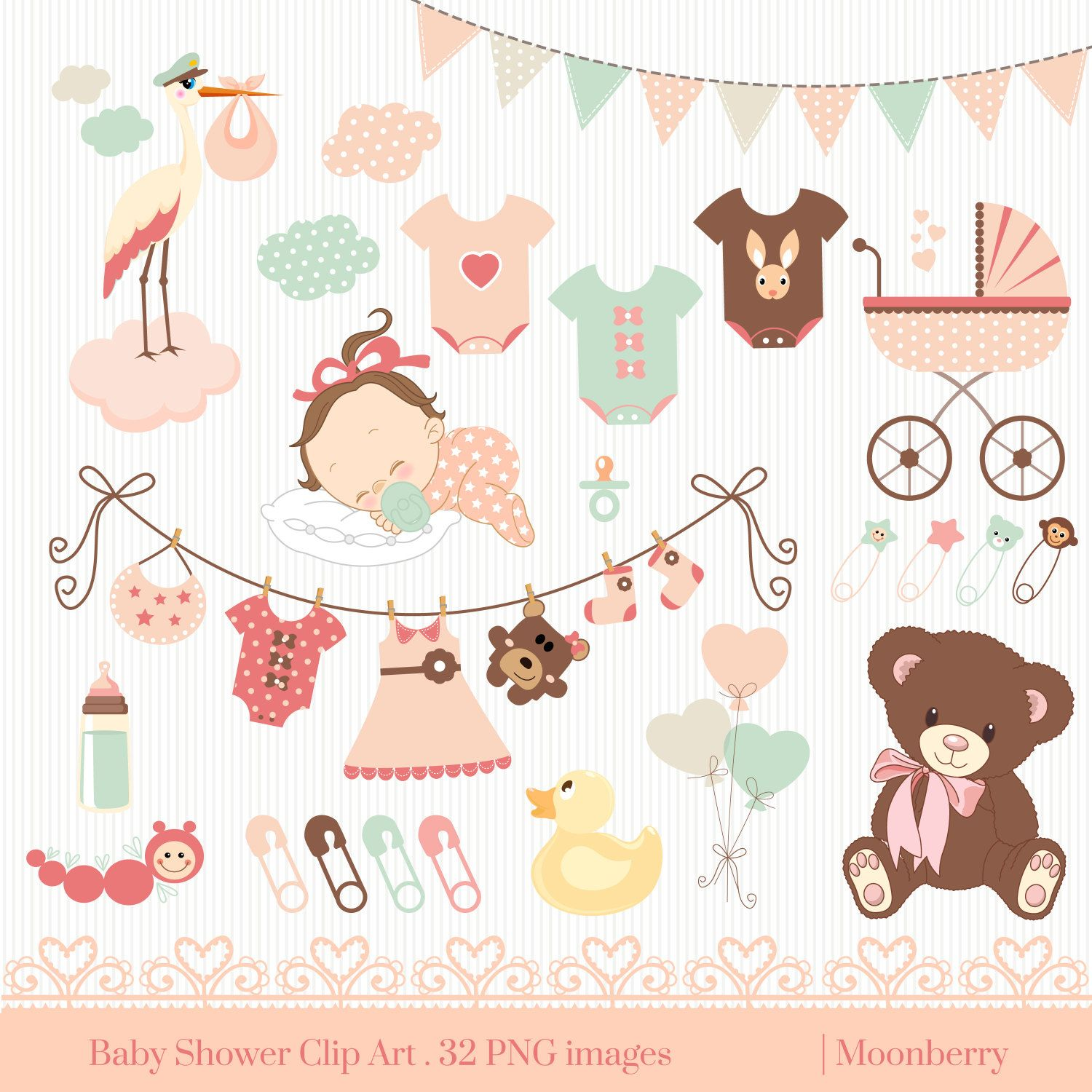 Baby clipart invitation.  awesome shower border