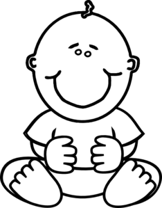 Baby clipart line drawing. Boy clip art at