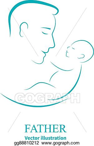 Baby clipart logo. Vector illustration dad and