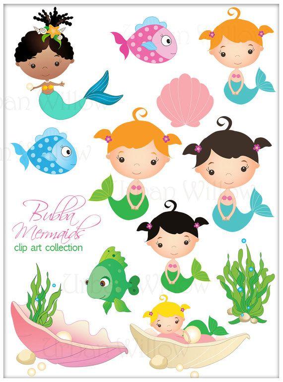 Cute seaweed and fish. Baby clipart mermaid