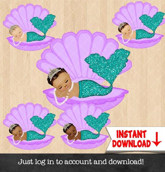 Baby clipart mermaid. Girl sleeping clam shell