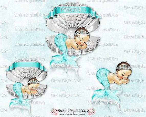 Girl sleeping in clam. Baby clipart mermaid