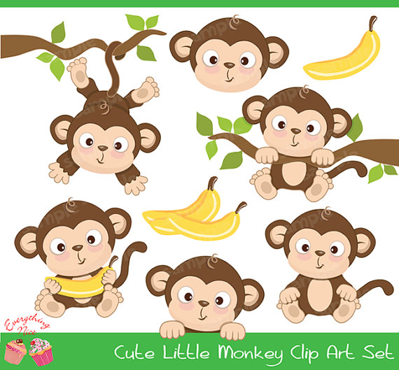 Cute little set . Baby clipart monkey