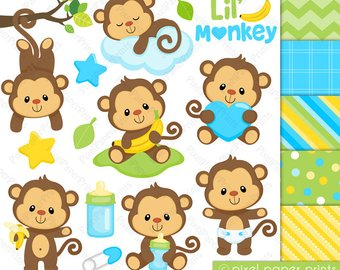 Baby clipart monkey. Etsy and digital paper