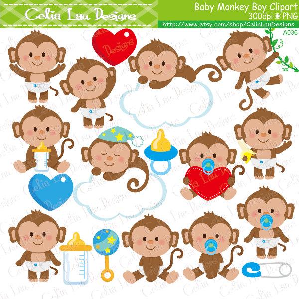 Cute boy . Baby clipart monkey