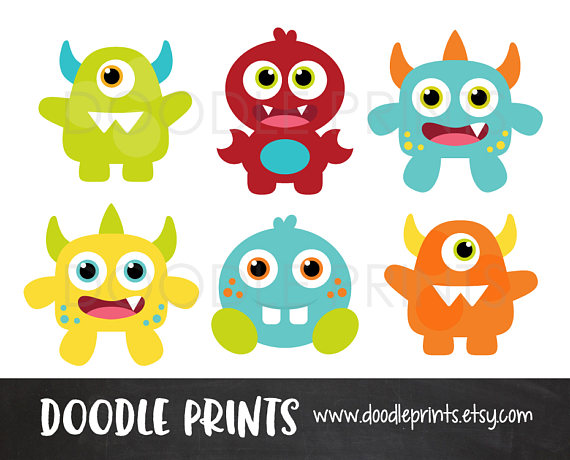 Digital clip art printable. Baby clipart monster