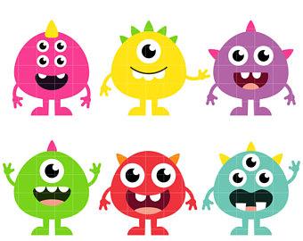 Baby clipart monster. Digital clip art printable