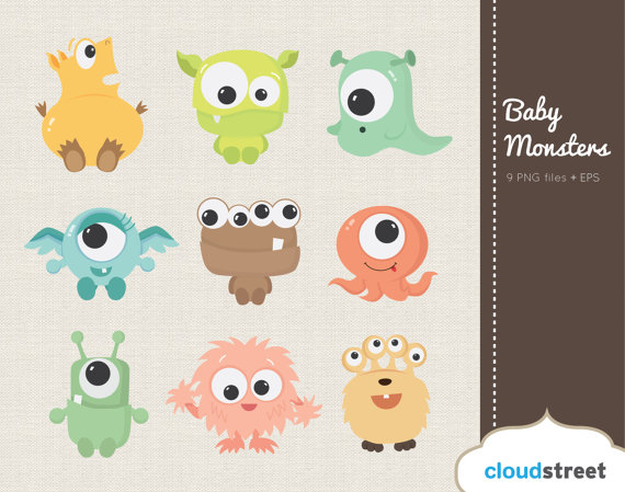 Buy get free cute. Baby clipart monster