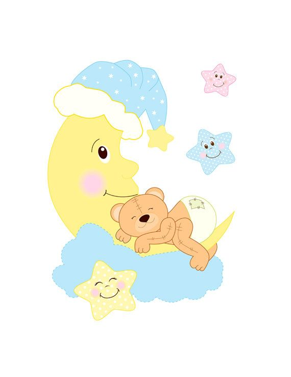 Baby clipart moon. Teddy bear decal nursery