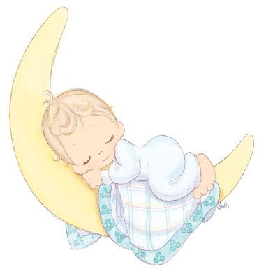 Precious moments sleeping on. Baby clipart moon