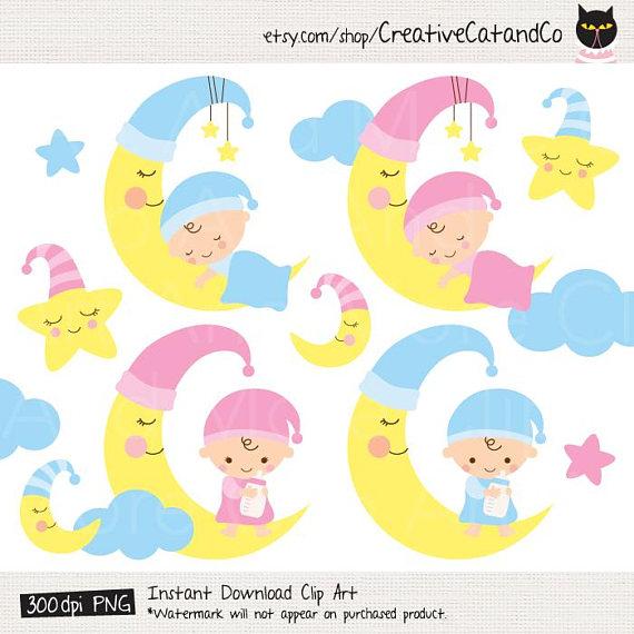 Baby clipart moon. Sleeping clip art