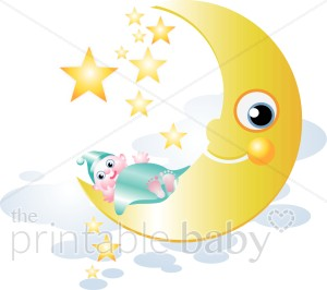 Baby on Moon Clip Art