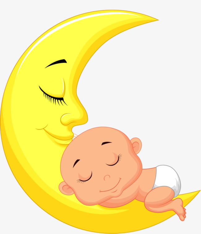 Baby clipart moon. Sleeping on the yellow