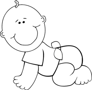 Baby clipart outline. Crawling boy clip art