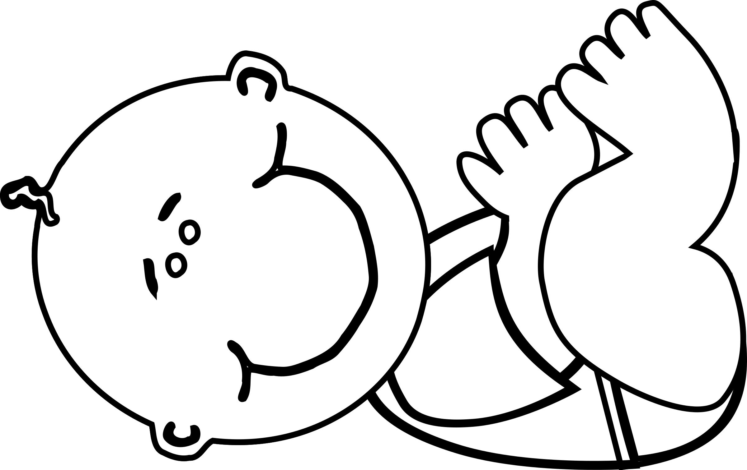 Boy lying big image. Baby clipart outline