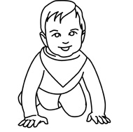 Baby clipart outline. Free black and white