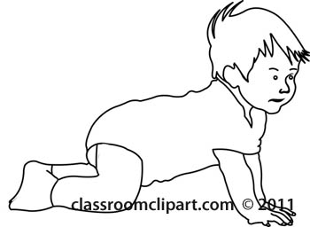 Children crawling with socks. Baby clipart outline