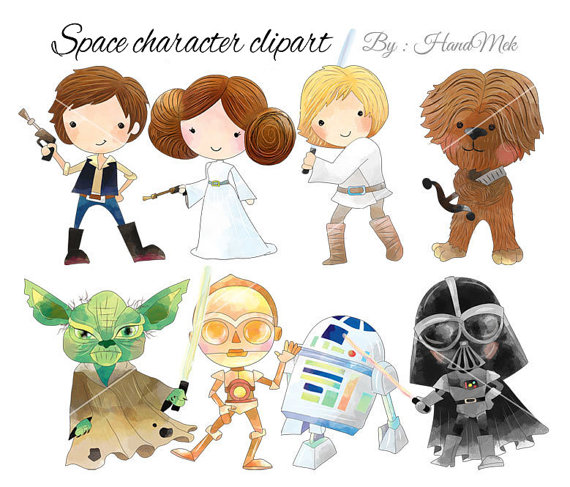 Space character set star. Baby clipart princess leia