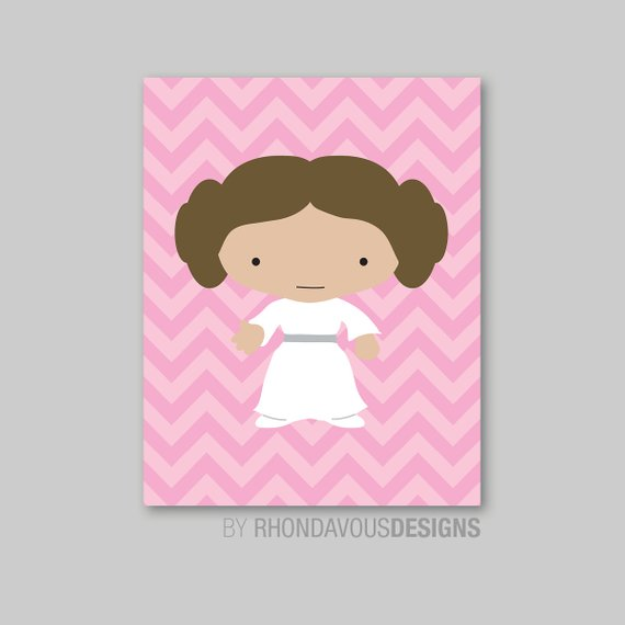 Baby clipart princess leia. Pink chevron single print