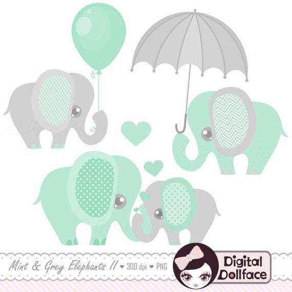 Elephant decor shower clip. Baby clipart printable