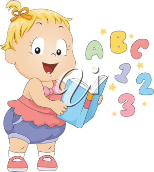 Baby clipart reading. Illustration of a toddler