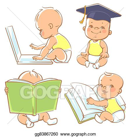 Vector cute little . Toddler clipart baby learning