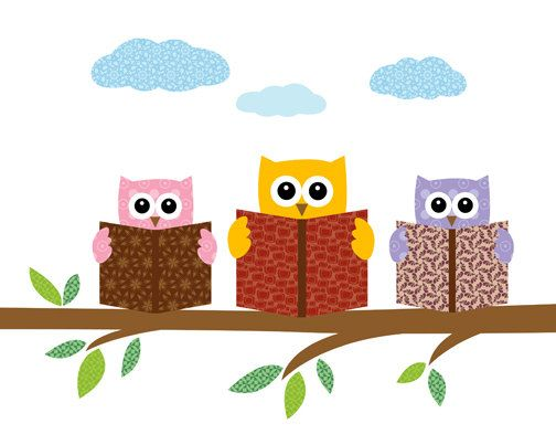 Owls books on a. Baby clipart reading
