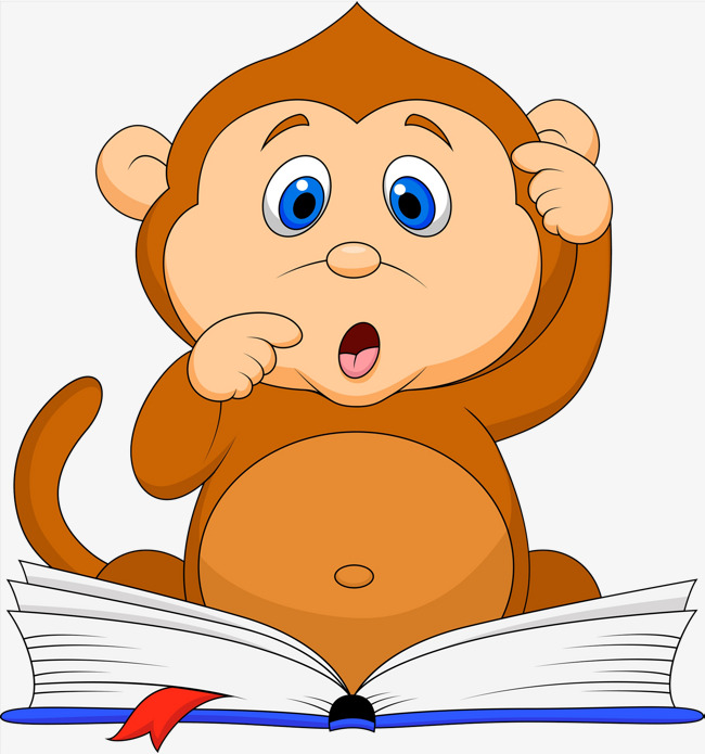 Monkey animal with tail. Baby clipart reading