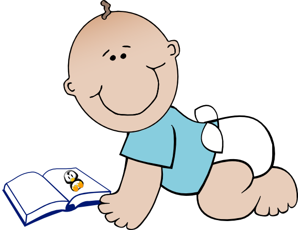 Infant clipart baby reading book. Free cliparts download clip