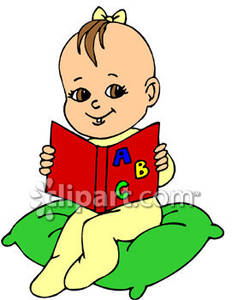 A girl book while. Baby clipart reading