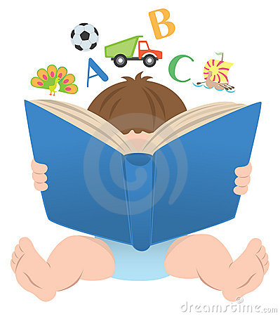 Baby clipart reading. Boy book clipartxtras student