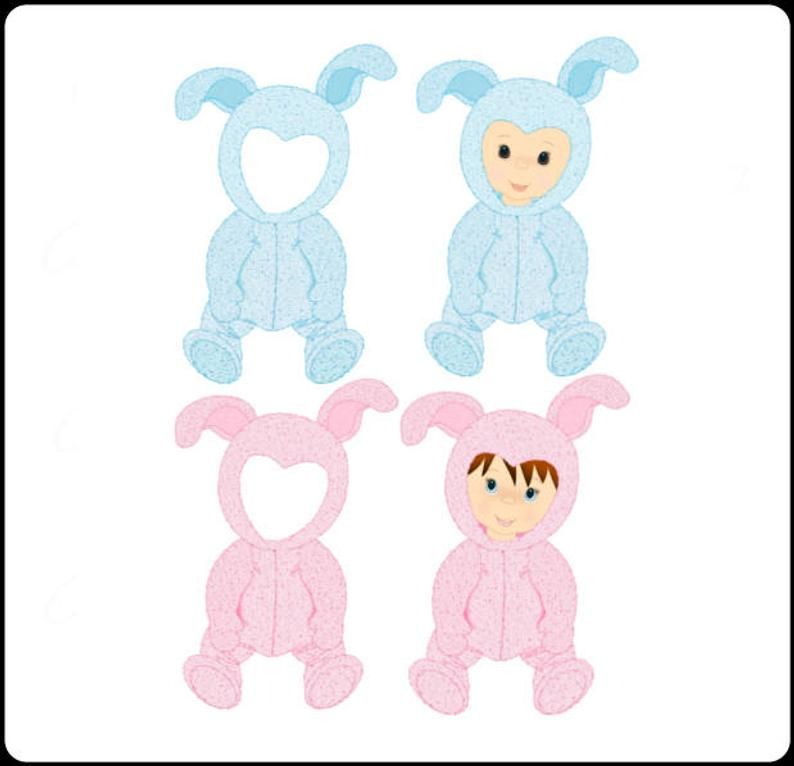 Baby clipart scrapbook. Bunnies cute digital art