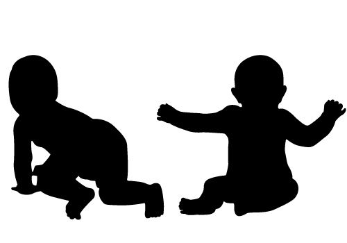 Baby clipart silhouette. Two free vector for