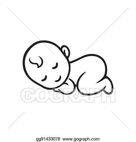 Vector sleeping silhouette illustration. Baby clipart simple