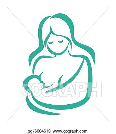 Vector mom and illustration. Baby clipart simple
