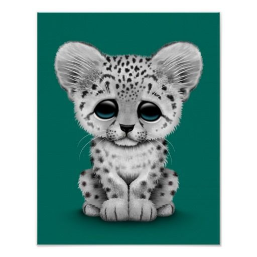Baby clipart snow leopard. Cute cub on teal